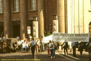 Vinschger Protest in Bozen für die Vinschger Bahn