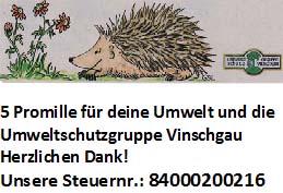 5 Promille für die Umweltschutzgruppe Vinschgau - DANKE !